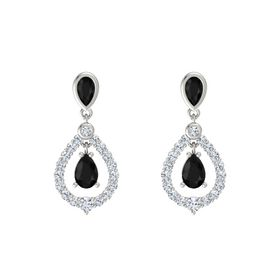 Pear Black Onyx 14K White Gold Earring with Black Onyx and Diamond