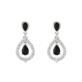 Pear Black Onyx 14K White Gold Earrings with Black Onyx & White Sapphire