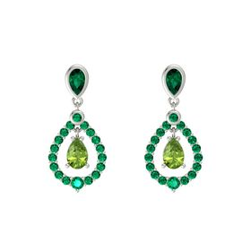 Pear Peridot 14K White Gold Earrings with Emerald