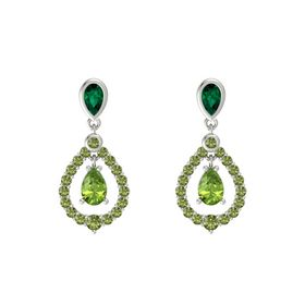 Pear Peridot 14K White Gold Earring with Emerald and Green Tourmaline
