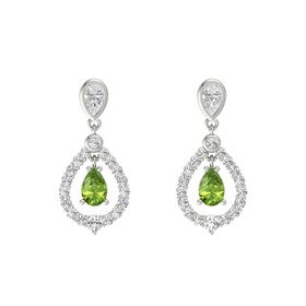Pear Peridot 14K White Gold Earrings with White Sapphire