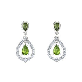 Pear Peridot 14K White Gold Earring with Green Tourmaline and Diamond