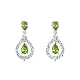 Pear Peridot 14K White Gold Earring with Peridot and Diamond