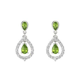 Pear Peridot 14K White Gold Earring with Peridot and White Sapphire