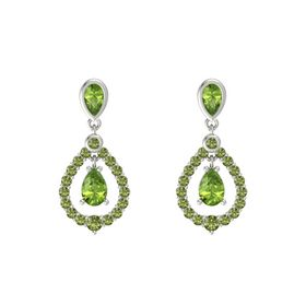 Pear Peridot 14K White Gold Earrings with Peridot & Green Tourmaline