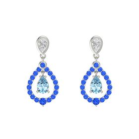 Pear Aquamarine 14K White Gold Earring with White Sapphire and Blue Sapphire