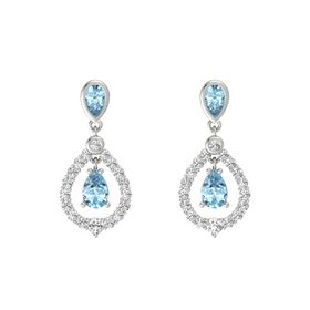 Pear Aquamarine 14K White Gold Earring with Aquamarine and White Sapphire
