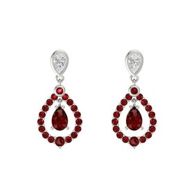 Pear Ruby 14K White Gold Earrings with White Sapphire & Ruby