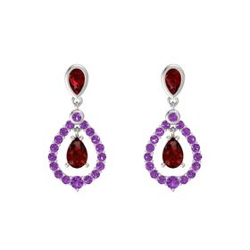 Pear Ruby 14K White Gold Earring with Ruby and Amethyst