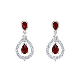 Pear Ruby 14K White Gold Earrings with Ruby & Diamond