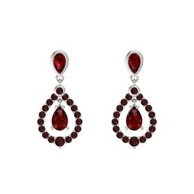 Pear Ruby 14K White Gold Earring with Ruby and Red Garnet