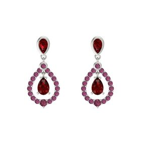 Pear Ruby 14K White Gold Earring with Ruby and Rhodolite Garnet