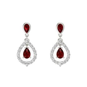 Pear Ruby 14K White Gold Earrings with Ruby & White Sapphire