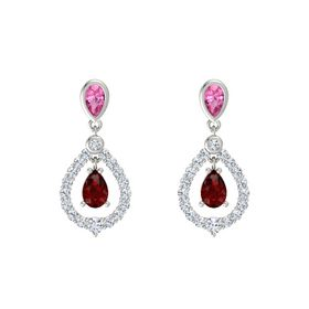 Pear Ruby 14K White Gold Earring with Pink Tourmaline and Diamond