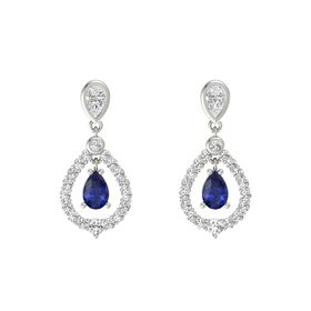 Pear Blue Sapphire 14K White Gold Earring with White Sapphire