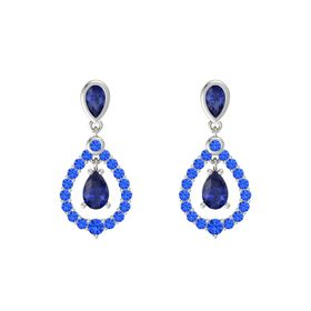 Pear Blue Sapphire 14K White Gold Earring with Blue Sapphire