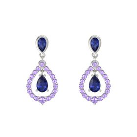 Pear Blue Sapphire 14K White Gold Earring with Blue Sapphire and Iolite