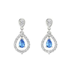 Pear Blue Topaz 14K White Gold Earring with White Sapphire