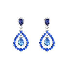 Pear Blue Topaz 14K White Gold Earring with Blue Sapphire