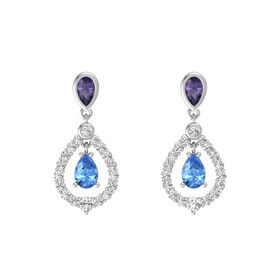 Pear Blue Topaz 14K White Gold Earring with Iolite and White Sapphire