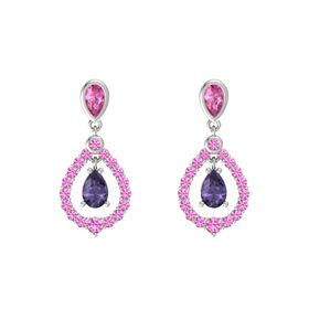 Pear Iolite 14K White Gold Earring with Pink Sapphire
