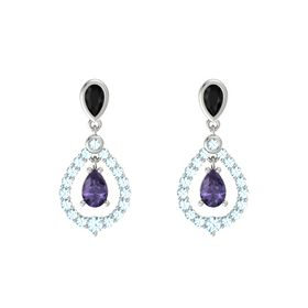 Pear Iolite 14K White Gold Earring with Black Onyx and Aquamarine
