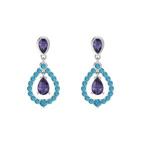 Pear Iolite 14K White Gold Earring with Iolite and London Blue Topaz