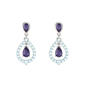 Pear Iolite 14K White Gold Earring with Iolite and Aquamarine