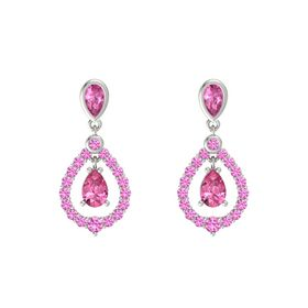 Pear Pink Tourmaline 14K White Gold Earring with Pink Sapphire