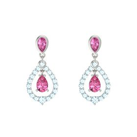 Pear Pink Tourmaline 14K White Gold Earring with Pink Sapphire and Aquamarine