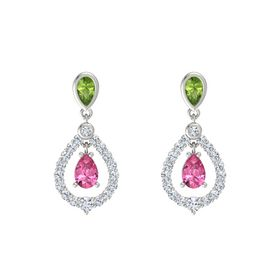 Pear Pink Tourmaline 14K White Gold Earring with Peridot and Diamond