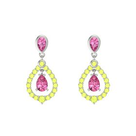 Pear Pink Tourmaline 14K White Gold Earring with Pink Tourmaline and Peridot