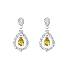Pear Yellow Sapphire 14K White Gold Earring with White Sapphire and Diamond