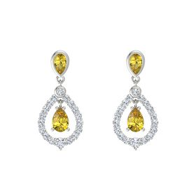 Pear Yellow Sapphire 14K White Gold Earring with Yellow Sapphire and Diamond