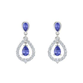 Pear Tanzanite 14K White Gold Earrings with Tanzanite & Diamond