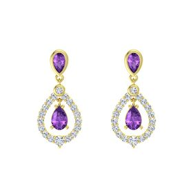 Pear Amethyst 14K Yellow Gold Earring with Amethyst and Diamond