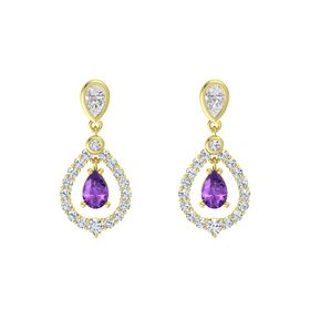 Pear Amethyst 14K Yellow Gold Earring with White Sapphire and Diamond