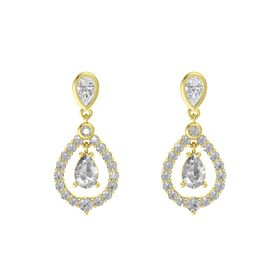 Pear Rock Crystal 14K Yellow Gold Earrings with White Sapphire & Rock Crystal