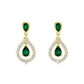 Pear Emerald 14K Yellow Gold Earrings with Emerald & White Sapphire