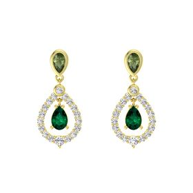 Pear Emerald 14K Yellow Gold Earrings with Green Tourmaline & White Sapphire