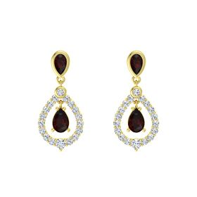 Pear Red Garnet 14K Yellow Gold Earring with Red Garnet and Diamond