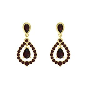 Pear Red Garnet 14K Yellow Gold Earring with Red Garnet