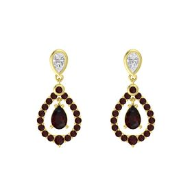 Pear Red Garnet 14K Yellow Gold Earring with White Sapphire and Red Garnet