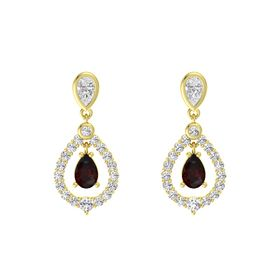 Pear Red Garnet 14K Yellow Gold Earrings with White Sapphire