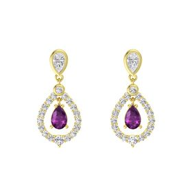 Pear Rhodolite Garnet 14K Yellow Gold Earrings with White Sapphire