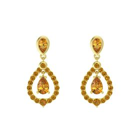 Pear Citrine 14K Yellow Gold Earring with Citrine