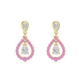 Pear White Sapphire 14K Yellow Gold Earrings with White Sapphire & Pink Sapphire