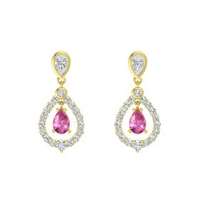 Pear Pink Sapphire 14K Yellow Gold Earrings with White Sapphire & Diamond