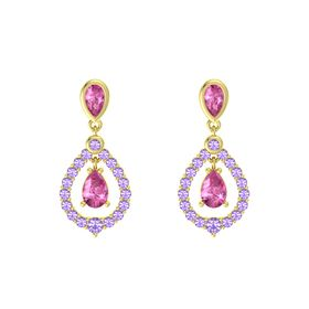 Pear Pink Sapphire 14K Yellow Gold Earring with Pink Sapphire and Iolite