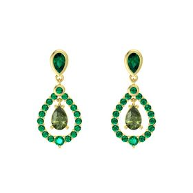 Pear Green Tourmaline 14K Yellow Gold Earrings with Emerald